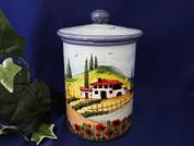 Tuscan Landscape Biscotti Jar, Tuscan Landscape Canister, Tuscany Biscotti Jar