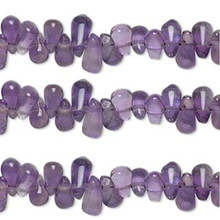 1 Strand Amethyst (Natural) Purple Hand Cut Teardrop Top Drilled Beads