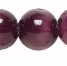 1 Strand Purple Cat's Eye Fiber Optic Glass 8mm Round Grade A Beads