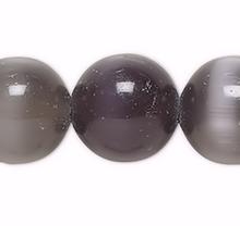 1 Strand Black Cat's Eye Fiber Optic Glass 10mm Round Grade A Beads