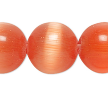 1 Strand Orange Cat's Eye Fiber Optic Glass 8mm Round Grade A Beads