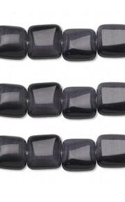 1 Strand Black Cat's Eye Fiber Optic Glass 8x8mm Puffed Square Beads  *