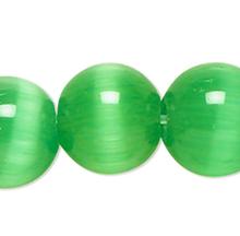 1 Strand Green Cat's Eye Fiber Optic Glass 4mm Round Grade A Beads