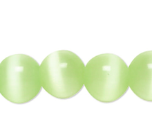 1 Strand Light Green Cat's Eye Fiber Optic Glass 4mm Round Grade A Beads