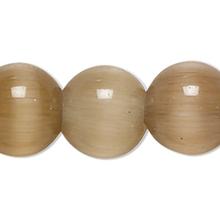 1 Strand Brown Cat's Eye Fiber Optic Glass 4mm Round Grade A Beads
