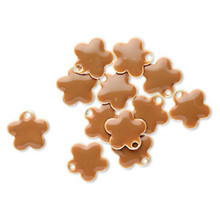 12 Silver Plated & Camel Enamel 10mm Flower Charms *