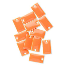 12 Silver Plated & Orange Enamel 14x8mm Rectangle Charms *