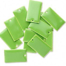 12 Silver Plated & Lime Green Enamel  23x14mm Rectangle Charms *