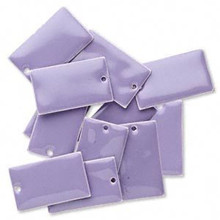 12 Silver Plated & Lavender Enamel  23x14mm Rectangle Charms *