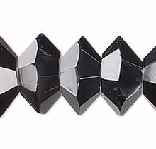 1 Strand Black Crystals 16 Facets 6x3mm Faceted Disc Beads