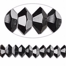 1 Strand Black Crystals 16 Facets 8x4mm Faceted Disc Beads *