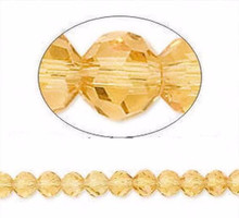 1 Strand Amber Gold 4mm Round Crystal 32 Facets Glass Beads *