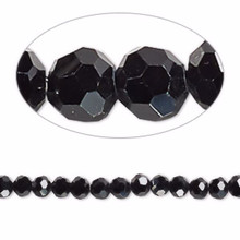1 Strand Black 4mm Round Crystal 32 Facets Glass Beads *