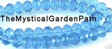 1 Strand Aqua Blue Faceted Glass 8x5mm Rondelle Beads *