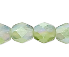 1 Strand AB Matte Light Green Czech Fire Polished 4mm Faceted Round Glass Beads