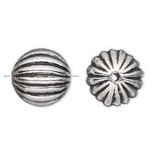 50 Grams Antiqued Silver Metalized Plastic 17mm Ribbed Round Beads