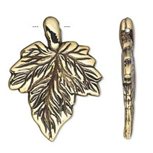 50 Grams Antiqued Gold Metalized Plastic 36x27mm Leaf Charms