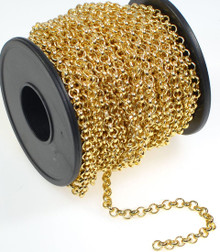 3 Feet Gold Plated Brass Bulk Rolo Belcher Chain with 3.9mm Links