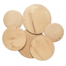 3 Pair Boxwood Natural Brown Assorted 40-60mm Wood Flat Round Disc Focals