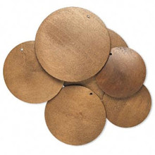 3 Pair Boxwood Brown Dyed Assorted 40-60mm Wood Flat Round Disc Focals