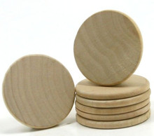 "20 Wooden Circles  1-1/4"" x1/8"" Thick  Hardwood Rounded Beveled Edge"