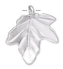 1 Hills Tribe Silver Plated Copper  20x19mm Leaf Charm