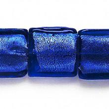 10 Cobalt Blue Lampwork Glass 20mm Square Foil Beads *