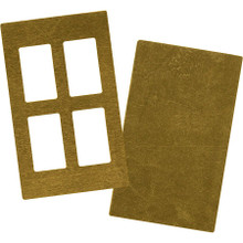 5 Sets Raw Brass Rectangular Paned Window Blanks