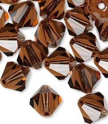 24 Swarovski Smoked Topaz 6mm Xilion Crystal Bicone Beads (5328)