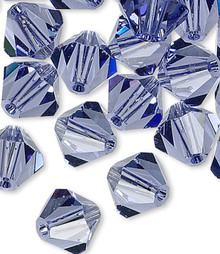 24 Swarovski Tanzanite 6mm Xilion Crystal Bicone Beads (5328)