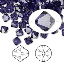 144 Swarovski Purple Velvet 6mm Xilion Crystal Bicone Beads (5328)