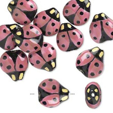 10 Porcelain Pink & Black Handpainted 16x16mm LadyBug Beads