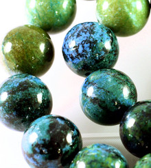 1 Strand Beautiful Imitation Blue Green Azurite 18mm Round Gemstone Beads *