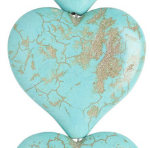 6 Blue Green Magnesite Dyed & Stabilized 34x32mm Flat Heart Beads *