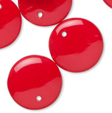 10 Opaque Red Czech Pressed Glass 12mm Flat Round Drop Beads