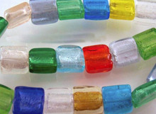 10 OR 30 Square Lampwork Foil Lined Beads  ~ Mix  ~12x12mm  *