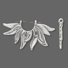 1 Sterling Silver Half Flower Bead Holder Frame  ~ 33x20mm *