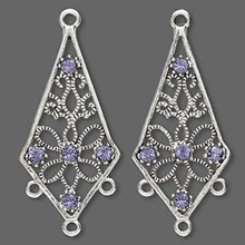 2 Antiqued Silver Pewter Earring Kites with Tanzanite Swarovski Crystals ~ 34x18mm*