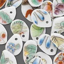 10 Hand Painted Porcelain Flat Freeform Teardrop Charms  *