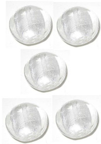1 Strand Clear & White LampWork Glass 12mm Puffy Coin Foil Beads *