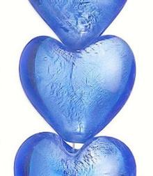 "15 "" Strand Lampwork Glass Light Blue 27-29mm Heart Beads   *"