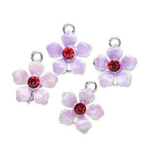4 Lavender Mix Flower Charm Link Connectors with Crystals  ~ 13x13mm  *