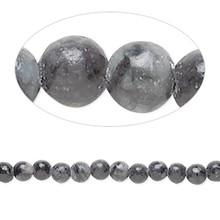 1 Strand Black & Grey Jungle Jasper Gemstone 4mm Round Beads  *