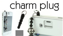 4 OR 36 Black Cell Phone Charm Plugs Fits into Headphone Jack then Add Charms