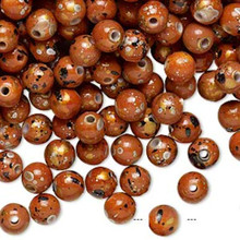 800 Orange with Gold/Silver/Black Speckles Round Acrylic Beads ~6mm