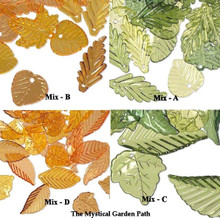 1/8 LB Assorted Acrylic Leaf Charms Mixes ~ Green Or Autumn Yellow Orange Brown