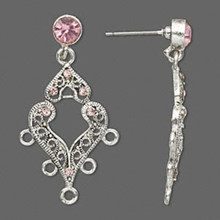 1 Pair Antiqued Silver Pewter Earrings with Swarovski Lt Rose Crystals *