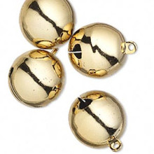 4 XLarge Steel Gold Finished Brass Round Jingle Bells  ~  25mm