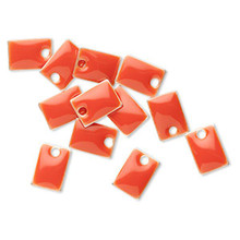 12 Silver Plated & Orange Enamel 8x5mm Rectangle Charms *