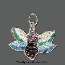 2 Gold Plated Bee Cloisonne Pendants ~  30x23mm  *
